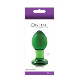 Зеленая стеклянная анальная пробка Crystal Medium - 7,5 см.