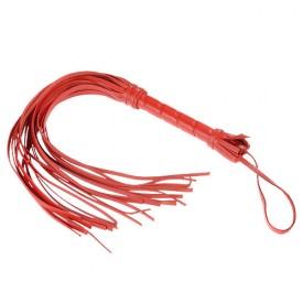 Гладкая красная плеть из кожи с жесткой рукоятью - 65 см.