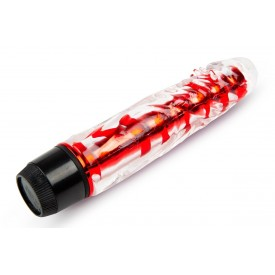 Красный гелевый вибратор - 15 см.